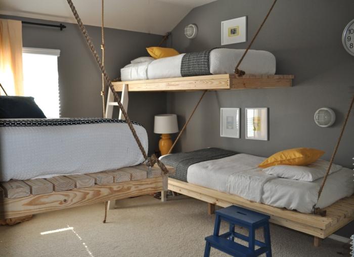 schlafzimmer design hängende betten kinderzimmer graue wandfarbe