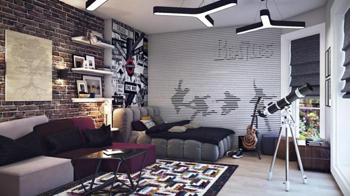 schlafzimmer design jungenzimmer einrichten wandgestaltung farbiger teppich