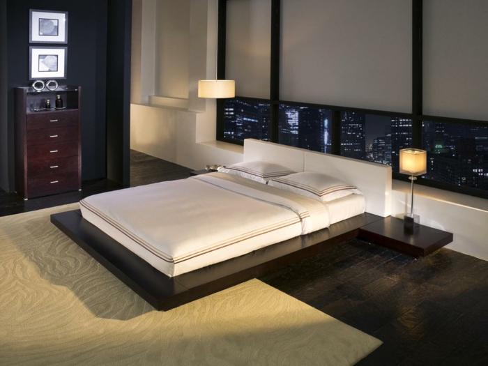 schlafzimmer design minimalistischer bettrahmen teppich panoramafenster