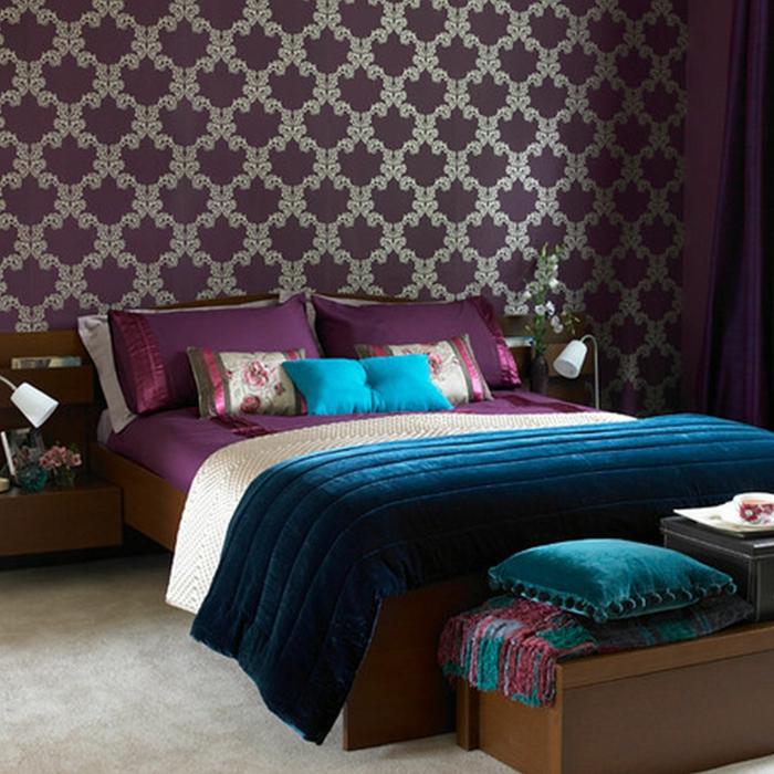 schlafzimmer tapeten ideen elegantes tapetenmuster schlafzimmerbank