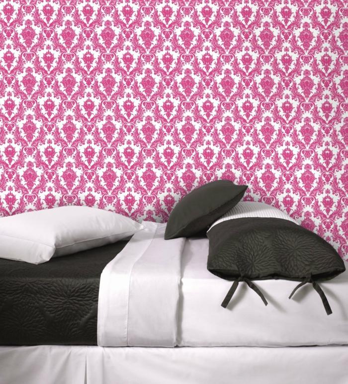 Schlafzimmer Tapeten Ideen Rosa Muster Ornamente