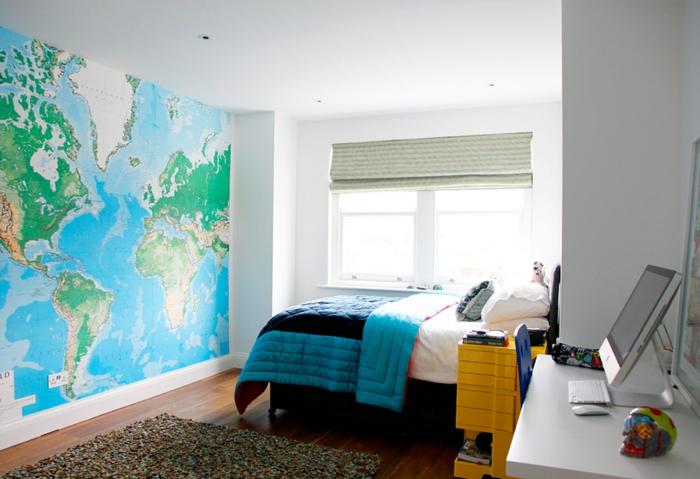 schlafzimmer tapeten ideen teenager schlafzimmer weltmappe wandtapete - Schlafzimmer Tapete