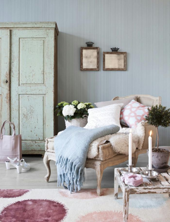 shabby chic stil dekoideen wohnzimmer schöner teppich