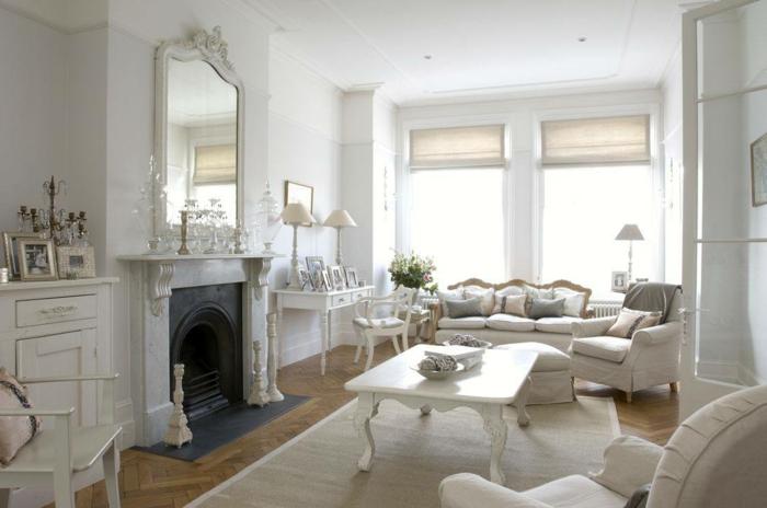 Shabby Chic Stil Wohnzimmer Einrichten Weisses Ambiente Kamin Wandspiegel