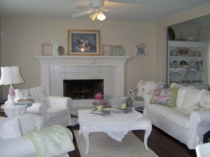 shabby chic stil wohnzimmer weiße möbel kamin