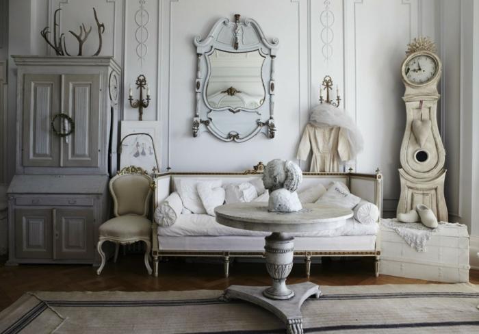 shabby chic wohnzimmer authentische gegenstände teppich