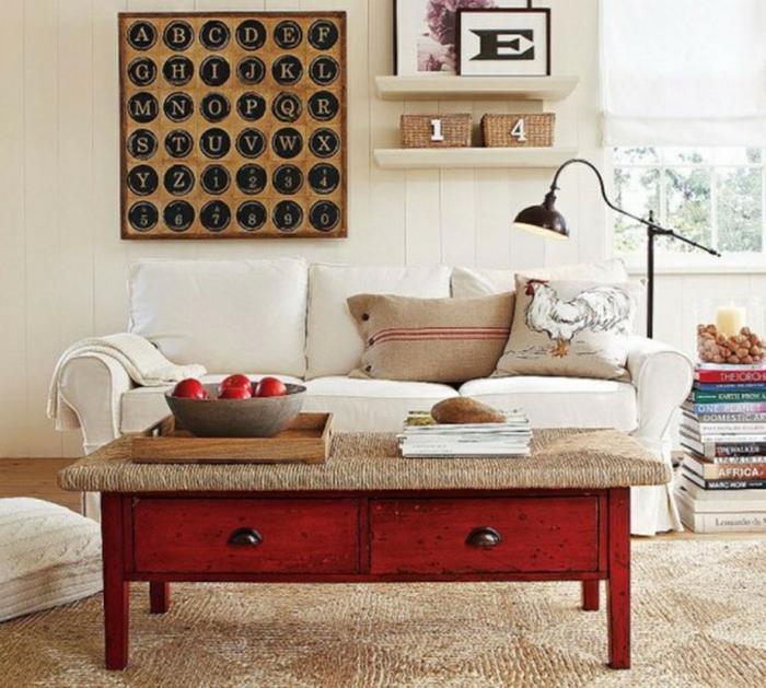 shabby chic wohnzimmer einrichtungsideen roter couchtisch jute sisalteppich