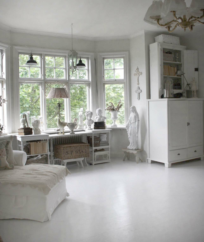 shabby chic wohnzimmer 66 romantische einrichtungen. Black Bedroom Furniture Sets. Home Design Ideas