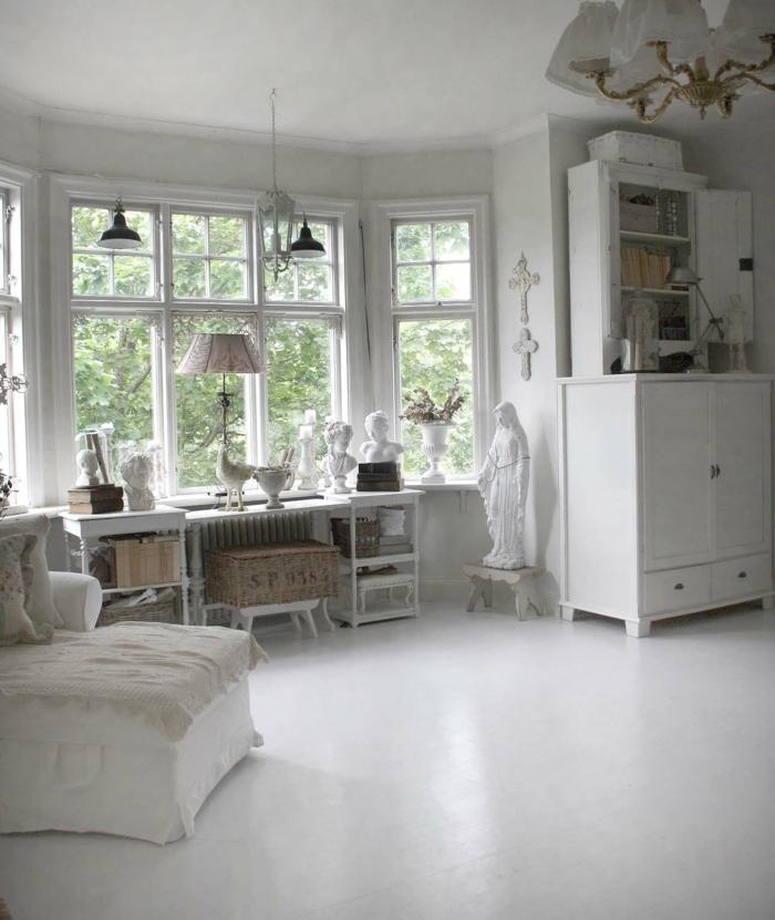 shabby chic wohnzimmer ideen einrichtung weiße skulpturen