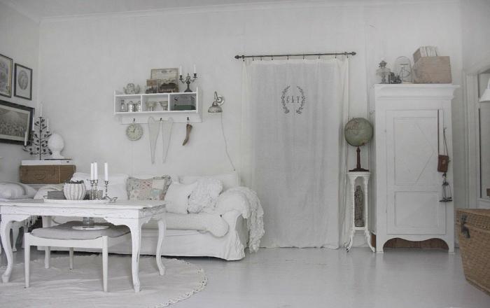 shabby chic wohnzimmer ideen weiße antik möbel vintage stil