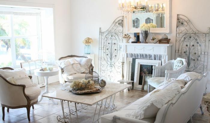 shabby chic wohnzimmer weiße wandfarbe schöne wohnideen