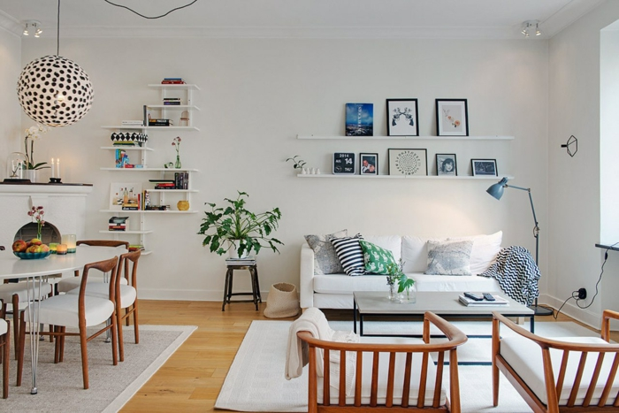 sofa skandinavisches design weiß offener wohnplan essbereich leuchter