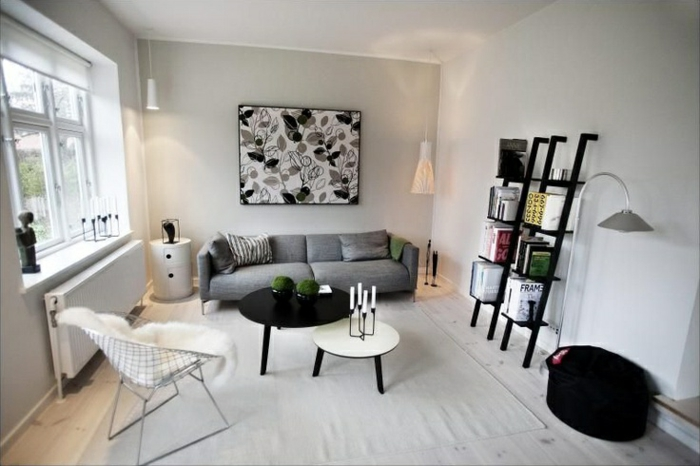 sofa skandinavisches design wohnzimmer einrichten weiße wandfarbe