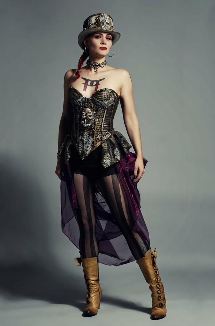 steampunk kleidung damenmode kostüm