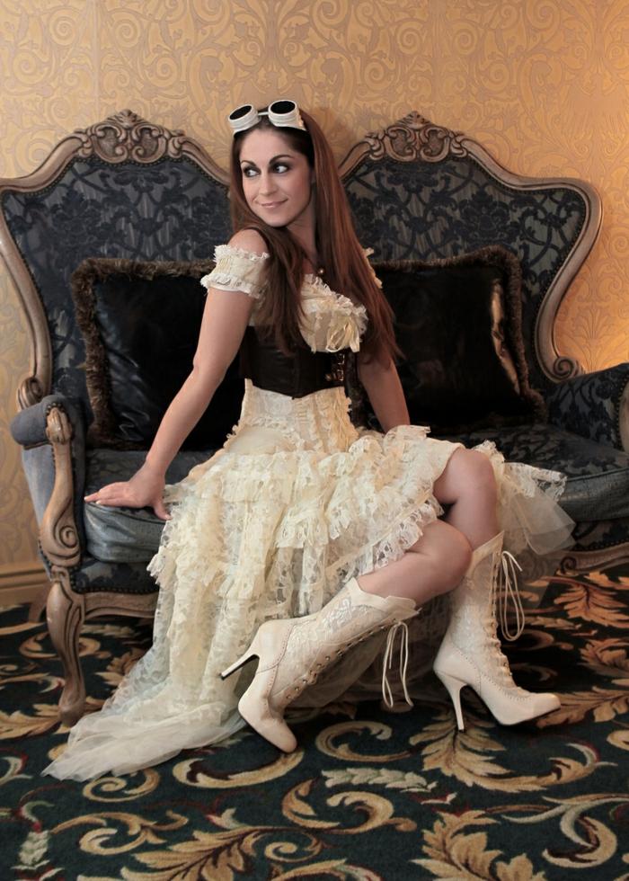steampunk kleidung damenmode weiß