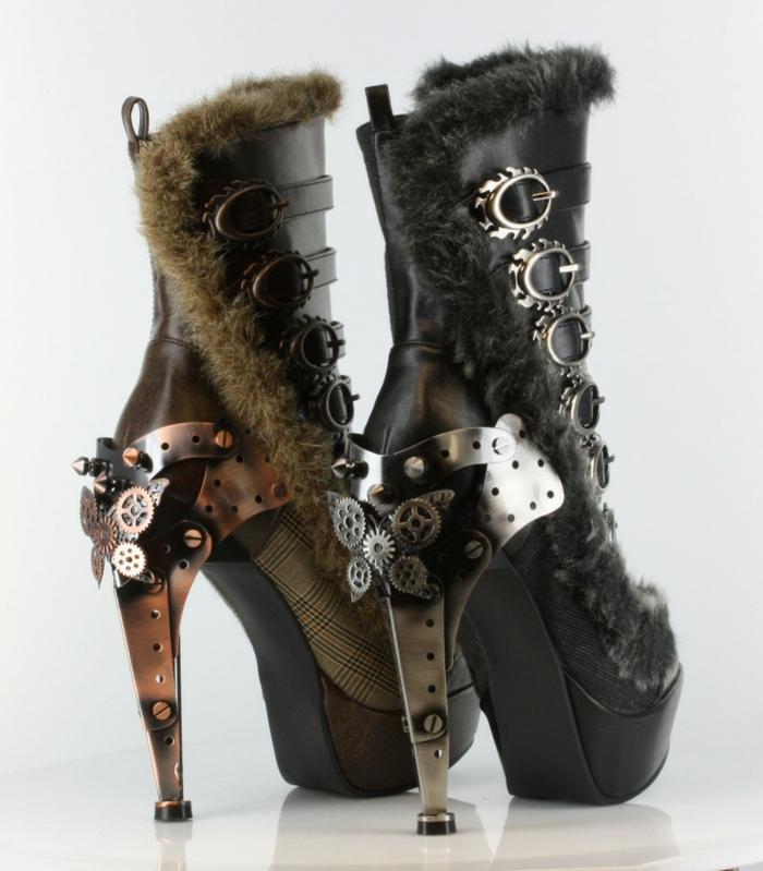 steampunk kleidung damenstiefel polaro black metropolis hades