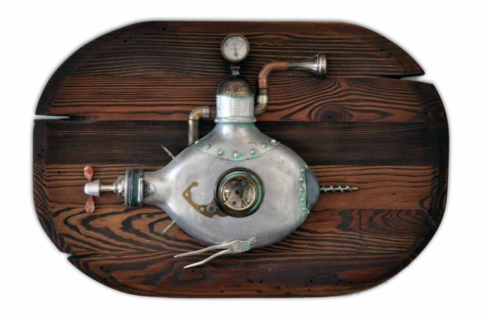 steampunk kunst assemblage uboot metall