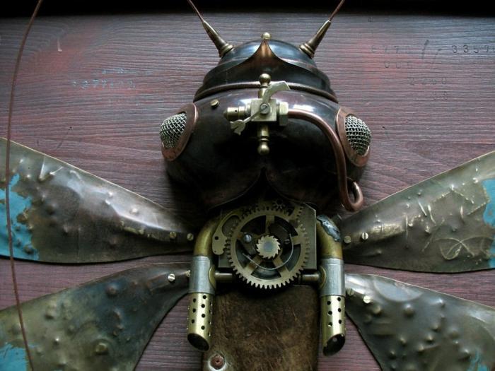 steampunk kunst fliege metall