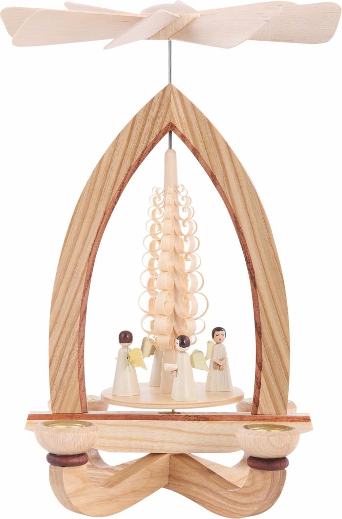 stoeckige Pyramide Engel traditionelle Weihnachtsdeko aus Holz