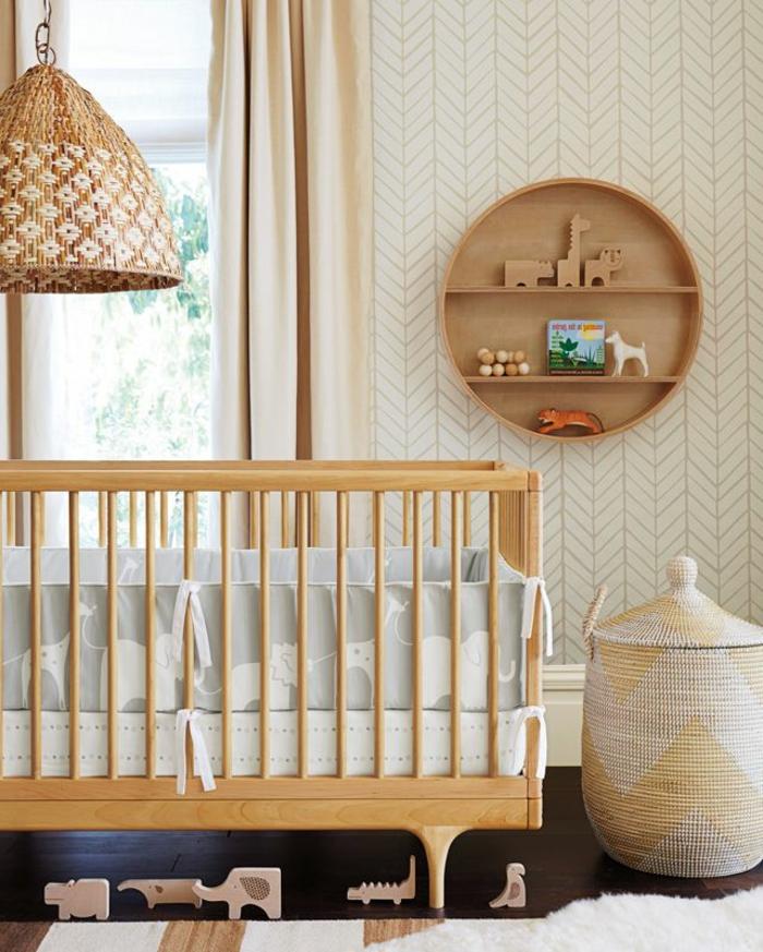 tapeten ideen kinderzimmer babybett aufbewahrungskorb