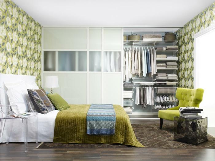Tapeten Ideen Wandgestaltung : tapeten ideen schlafzimmer frische wandgestaltung gr?ne elemente