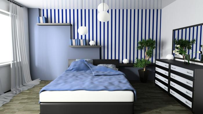 Tapete schlafzimmer blau  Schlafzimmer Tapeten Ideen - Wie Wandtapeten den Schlafzimmer-Look ...