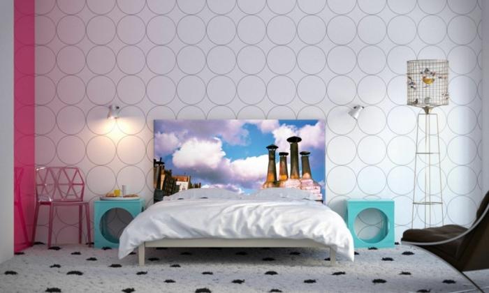 tapeten ideen schlafzimmer teppich tolles bettkopfteil - Ideen Tapeten Schlafzimmer