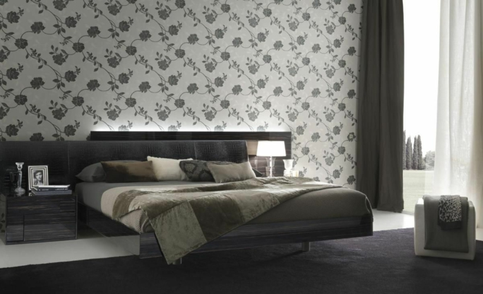 tapeten ideen schlafzimmer wandgestaltung schwarzer teppich - Tapeten Schlafzimmer Ideen