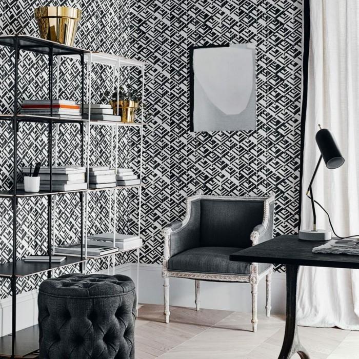 tapeten-ideen-strenge-geometrische-muster-in-schwarz-weiß