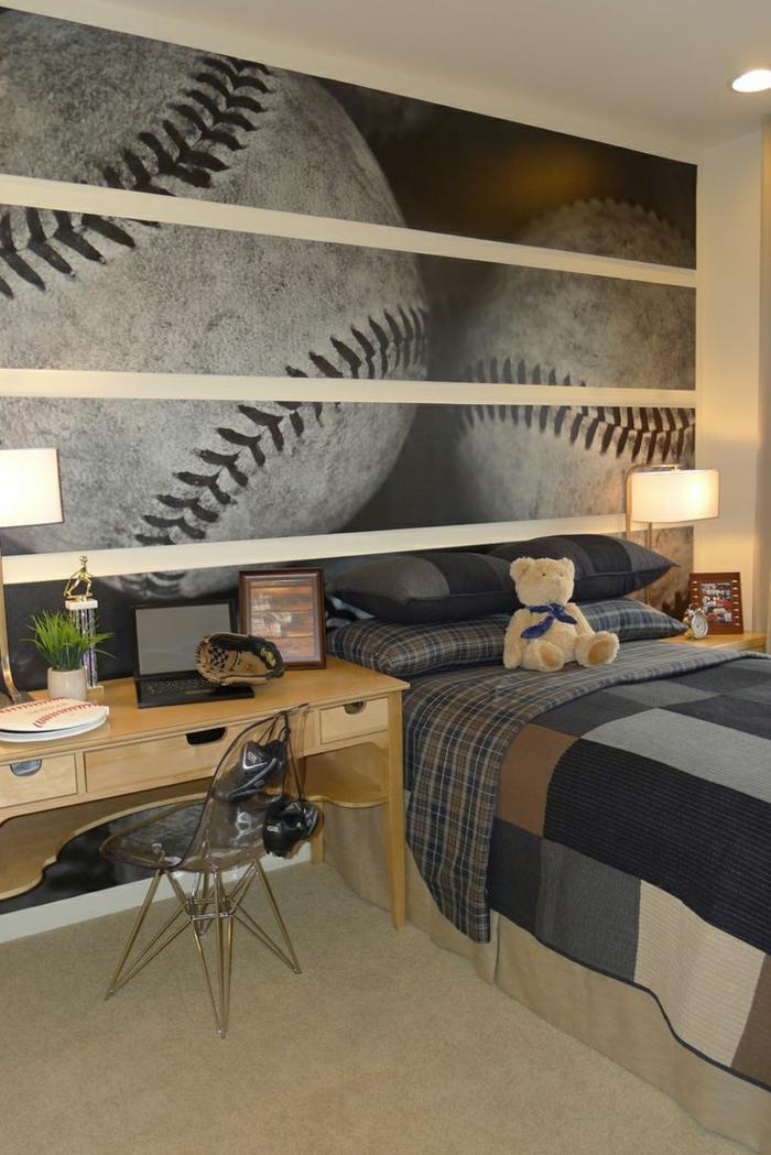 tapeten ideen wandgestaltung schlafzimmer baseball fans schreibtisch