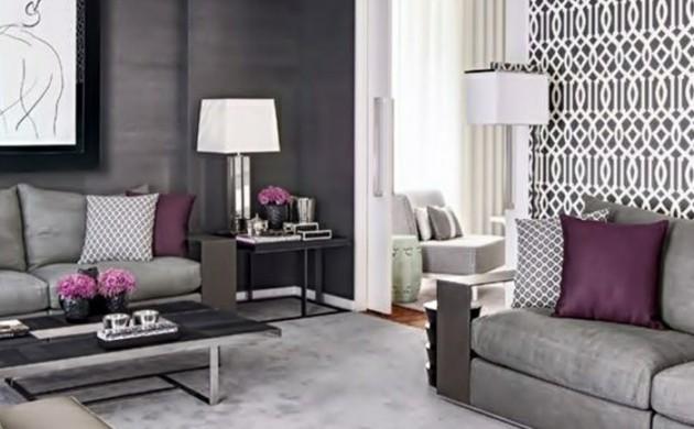 tapeten-ideen-wohnzimmer-akzentwand-elegante-wohnzimmermöbel-lila-akzente