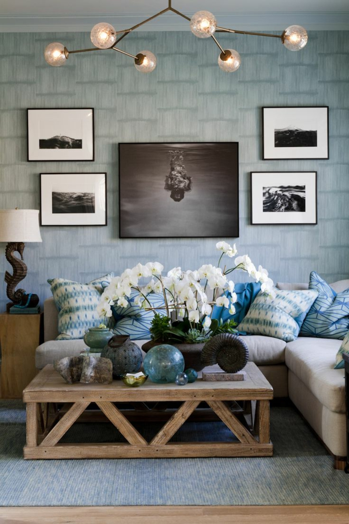 tapeten ideen wohnzimmer frische wandgestaltung orchideen tischdeko