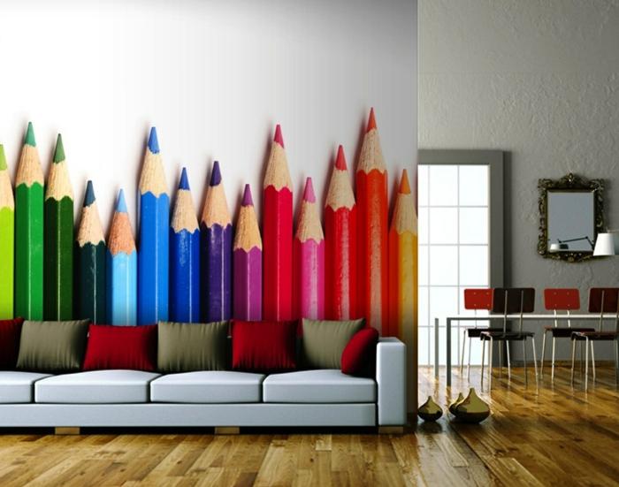 wandtapeten wohnzimmer modern farbig holzboden offener wohnplan