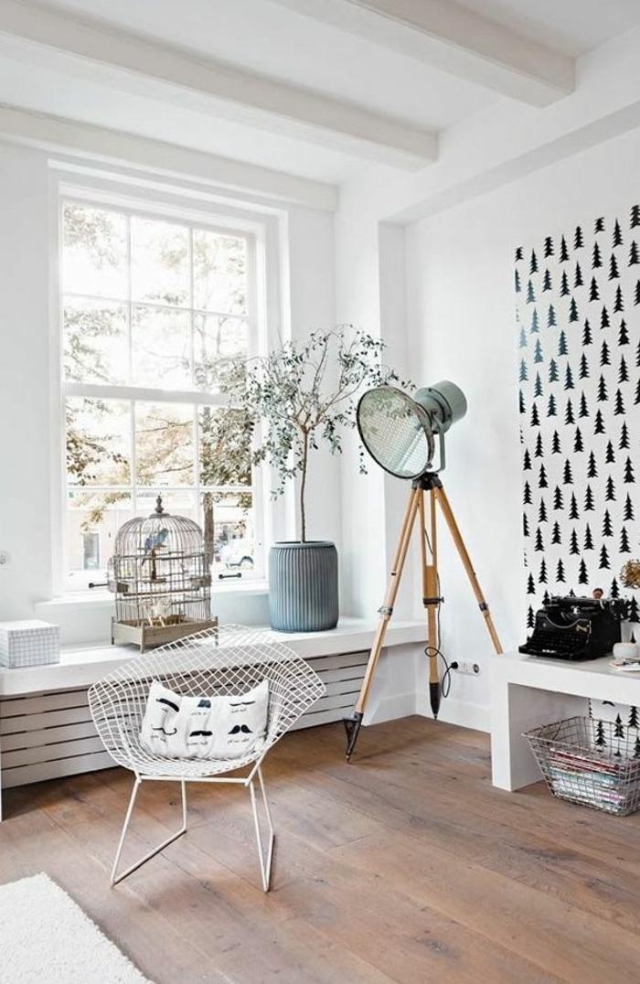 tapeten ideen wohnzimmer skandinavischer stil sessel
