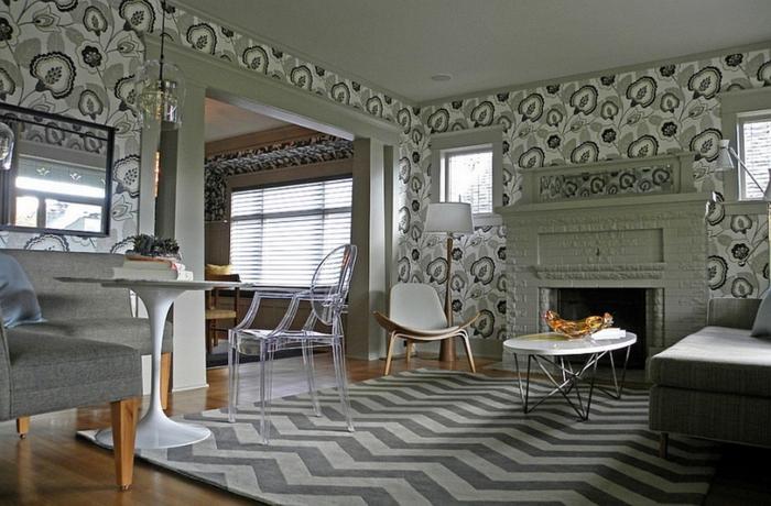 wohnzimmer wände tapeten:tapeten ideen wohnzimmer wände gestalten florales muster