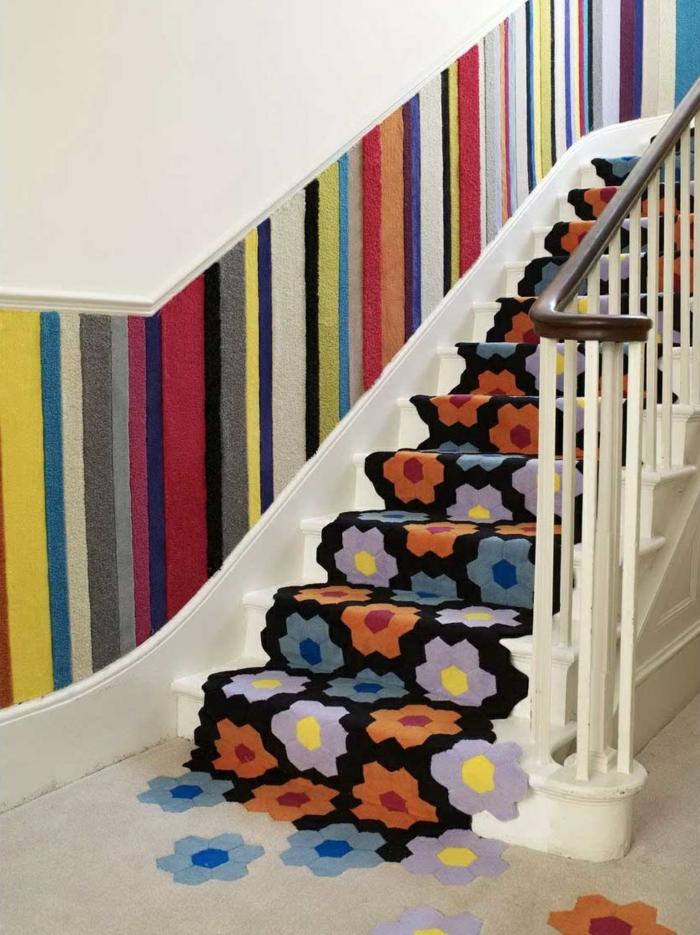 teppich für treppen ausefallenes muster schöne wandgestaltung