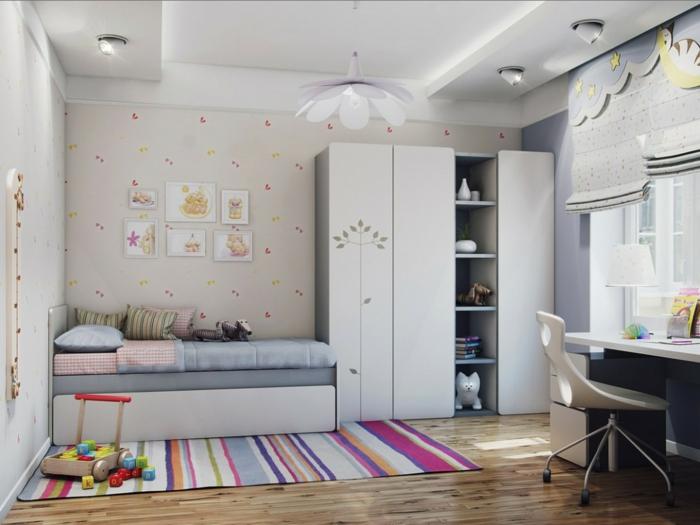 teppich design teppichl ufer kinderzimmer buntes muster raffrollo. Black Bedroom Furniture Sets. Home Design Ideas