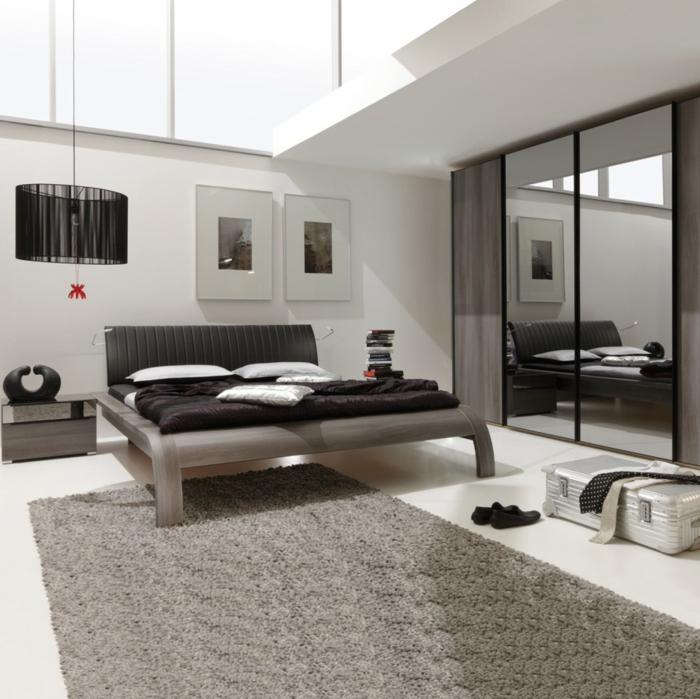 teppichläufer schlafzimmer kleiderschrank spiegeloberfläche pendelleuchte