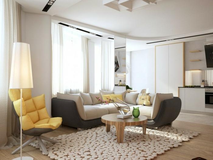 teppichläufer wohnzimmer dekorieren ausgefallener sessel stehlampe