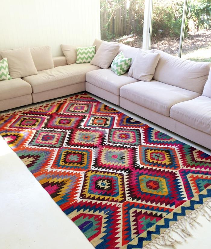 teppichläufer wohnzimmer farbig weiße wohnzimmermöbel frisch