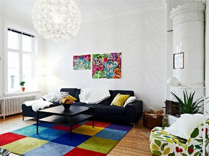 teppichläufer wohnzimmer farbiges muster holzboden