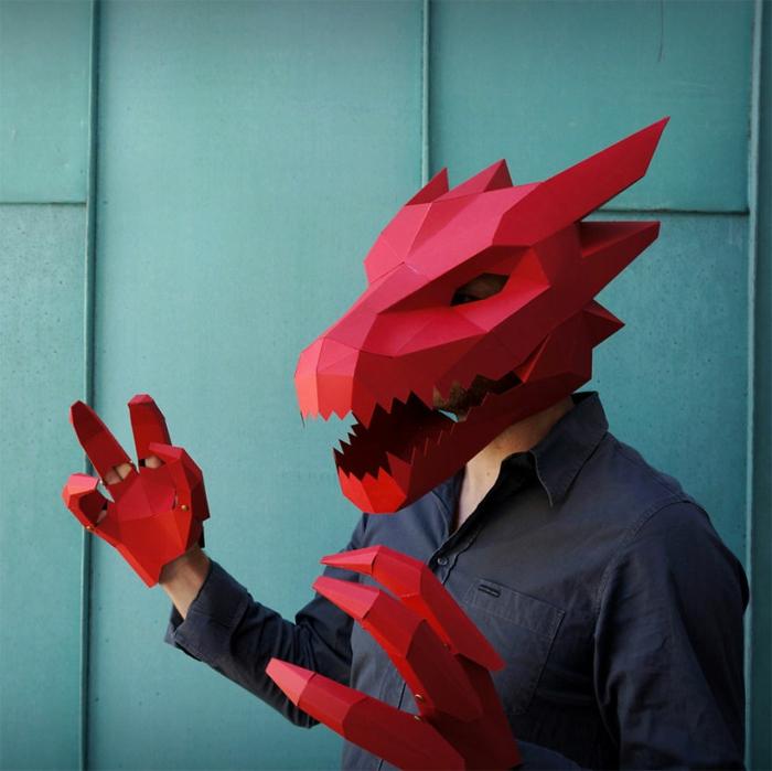 tiermasken basteln dragon halloween maske von steve wintercroft