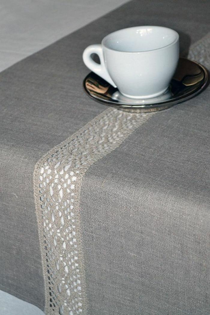 tischdecke nähen passende stoffe und muster spitze grau