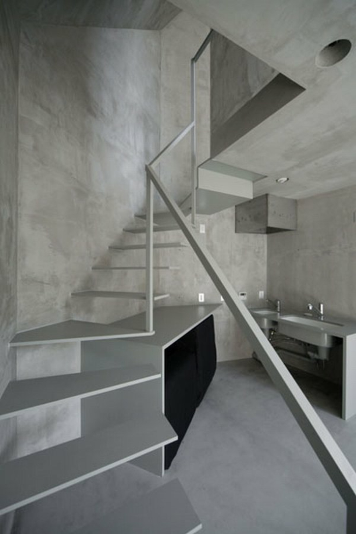 Treppenhaus Gestalten Beton Optik Schwebende Stufen