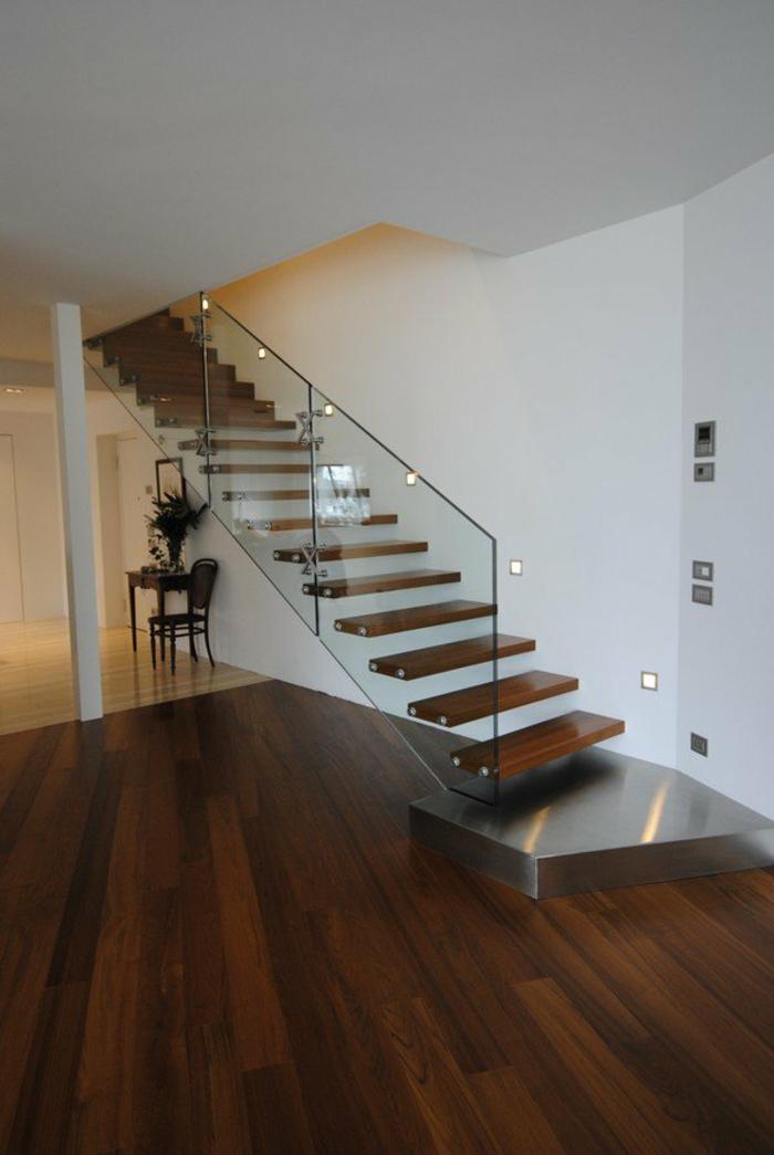 treppenhaus gestalten glasgeländer schwebende stufen