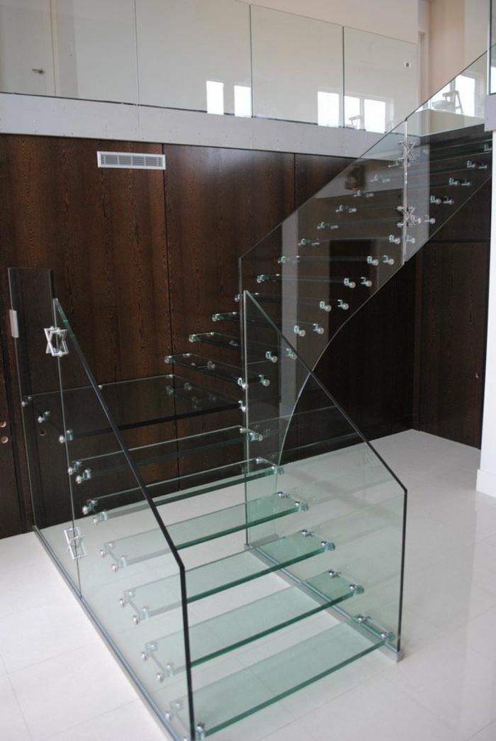 treppenhaus gestalten glasgeländer stahl