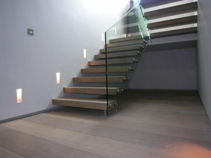 treppenhaus gestalten holz glas stahl minimalistisch