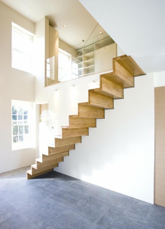 treppenhaus gestalten holz minimalistisch