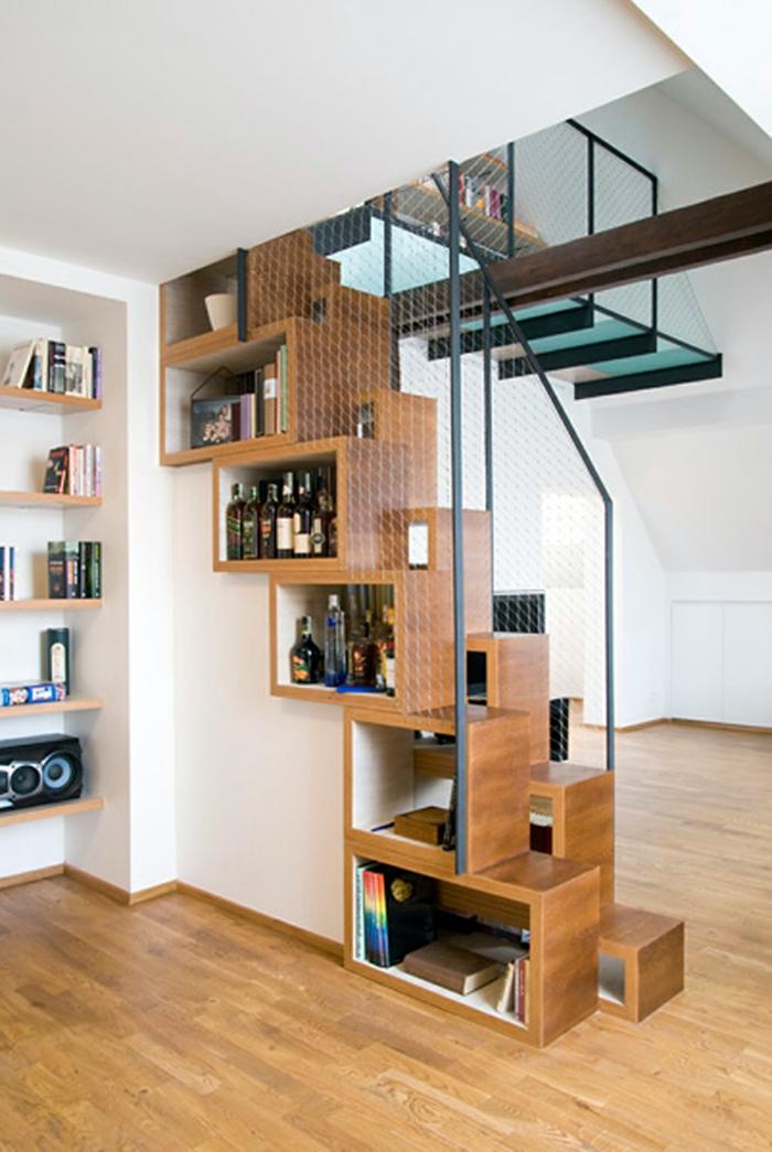 treppenhaus gestalten offene schränke stauraum