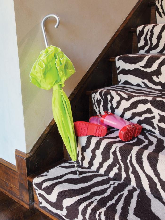 treppenteppich zebra muster schöne wohnideen